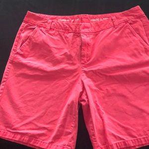 Gap bright pink khaki roll up shorts